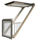 Двустворчатое мансардное окно-балкон